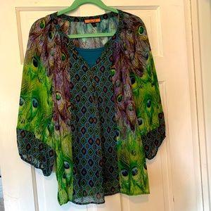 Olive Hill Shear Peacock Print Tunic